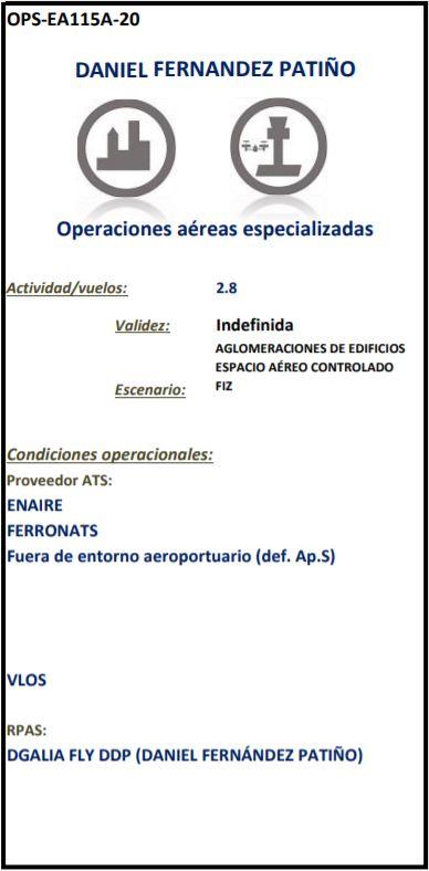 Autorización Operaciones Drone DGaliaDrone empresa de drones